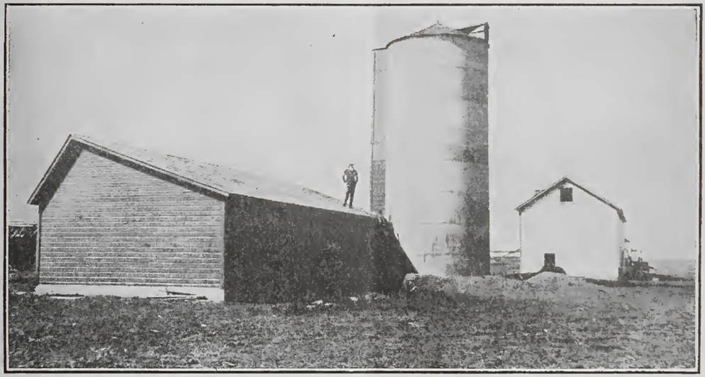 "Historic Image from UW Experimental farm, c. 1916. ""Fig. 3: Silo and cow barn on the Cheyenne Experiment Farm, Archer, Wyo."" (12)"