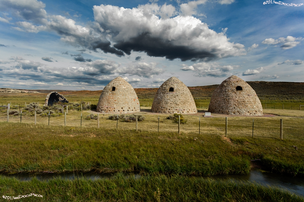 Three of the five charcoal kilns at the former town of Piedmont, WY.